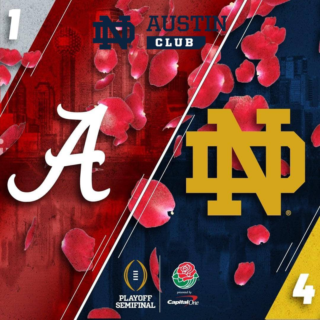 Image of the College Football Semifinal Playoffs between Alabama and Notre Dame - school logos
