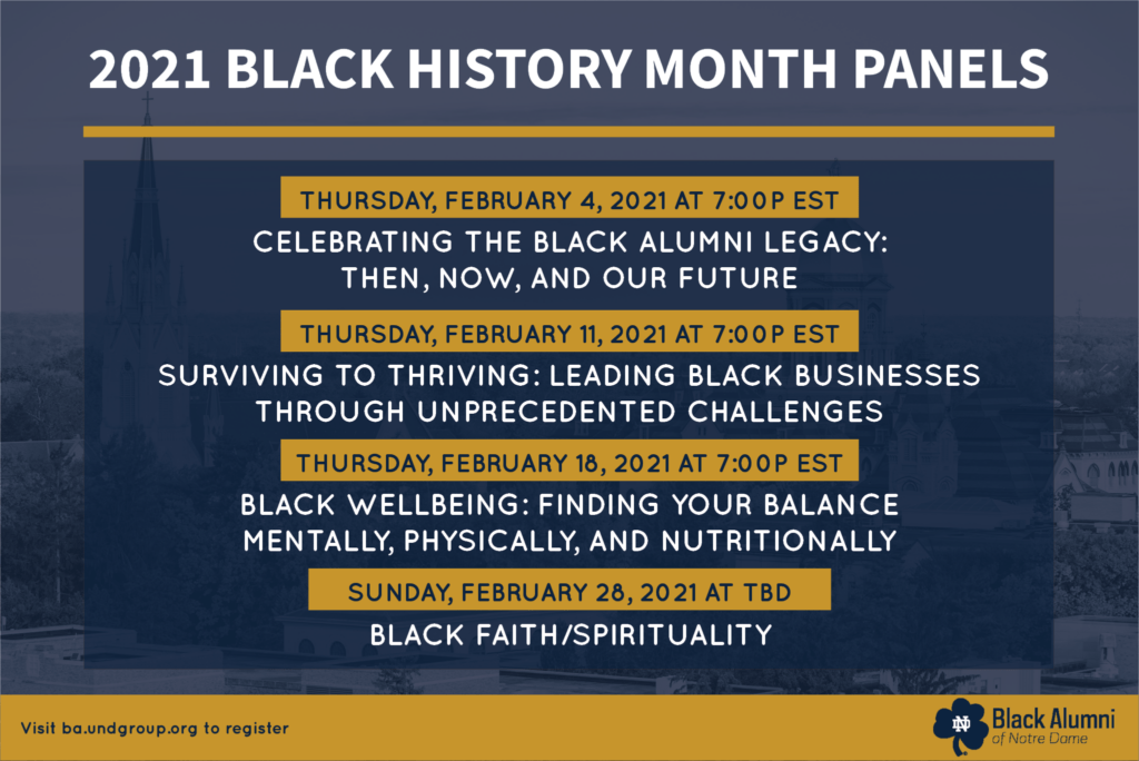 2021 Black History Month Panels Banner listing all 4 events in February - Black Alumni of Notre Dame logo