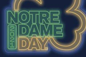 Notre Dame Day 2021 Logo, green, blue and gold colors