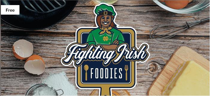 Image of baking goods and Fighting Irish Foodies logo