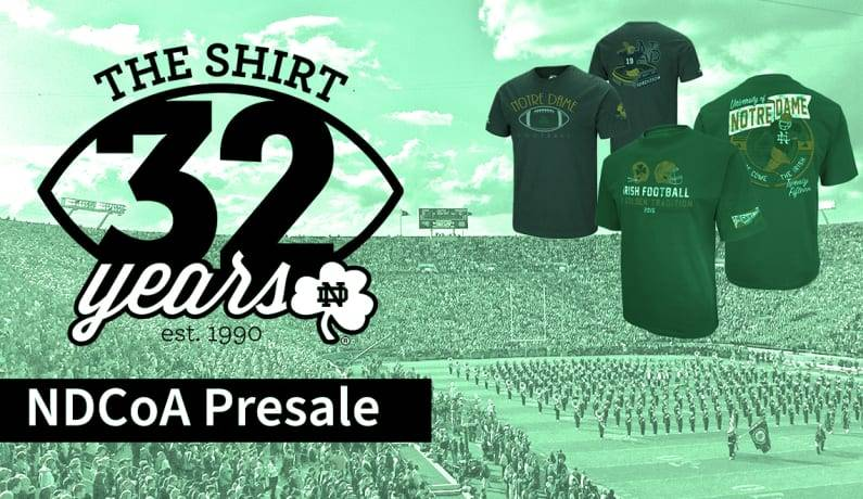 Banner for NDATX The Shirt Presale logo and stadium view
