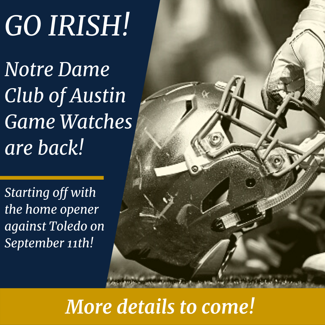Announcing that NDCoA Football Game Watches are back for 2021 - Blue/Gold with image of football helmet