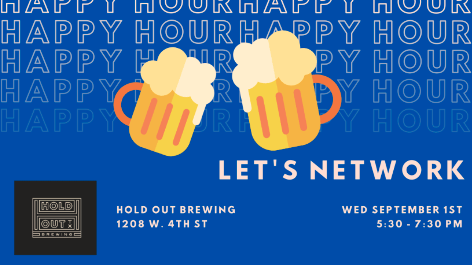 September 2021 Network Night Invite - Blue Background with to beer mugs with Let's Network text and time, date, location