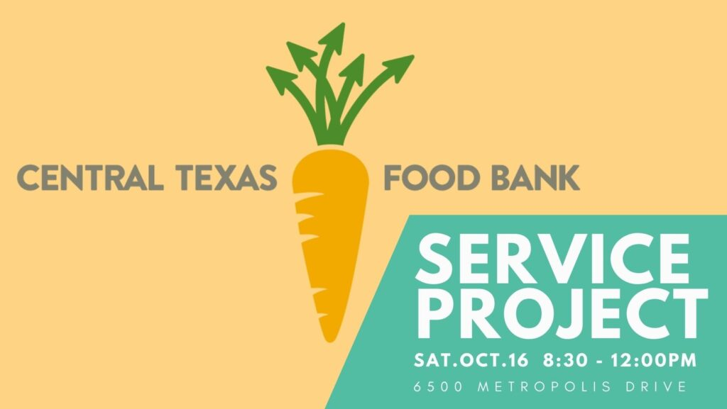 Central Texas Food Bank Logo with NDCOA callout for Service Project